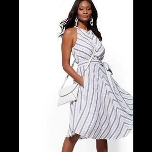 New York & Company Stripe Linen Halter Dress S